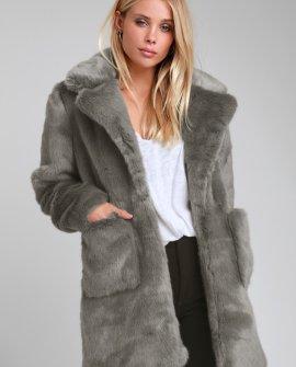 Faux Ever Blue Grey Faux Fur Coat