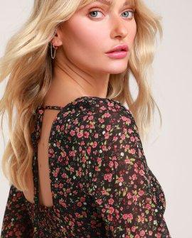 Favorite Flower Black Floral Print Long Sleeve Mini Dress