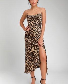 Fayette Leopard Print Cowl Neck Midi Dress