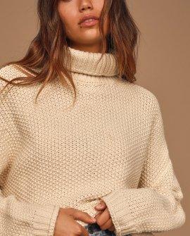 Feel It All Around Beige Knit Turtleneck Sweater