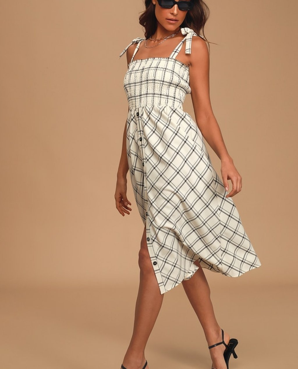 Feel the Breeze Cream Plaid Tie-Strap Button Front Midi Dress