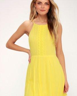 Feeling Fine Yellow Crochet Lace Dress