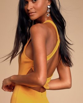 Feeling Right Golden Yellow Strappy Bodycon Dress