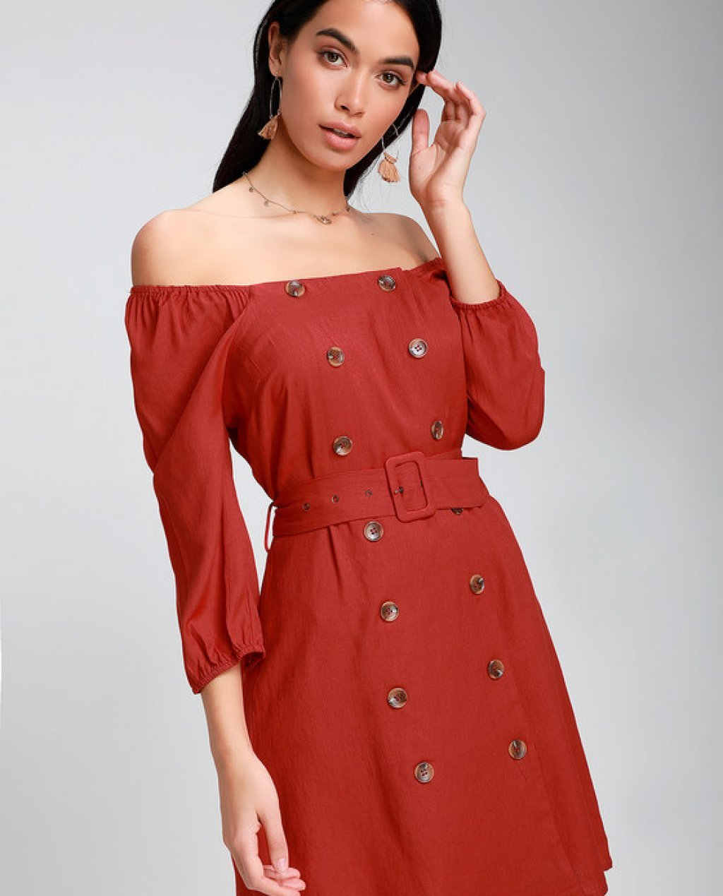 Fell In Love Rust Red Button Front Off-the-Shoulder Dress