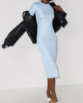Fendi FF logo-jacquard midi dress