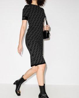Fendi FF motif fitted midi dress