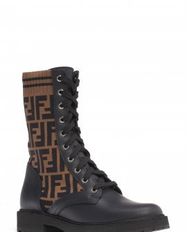 Fendi Rockoko Logo Sock Lace-Up Combat Boot