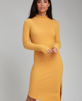 Fernley Golden Yellow Ribbed Long Sleeve Midi Dress