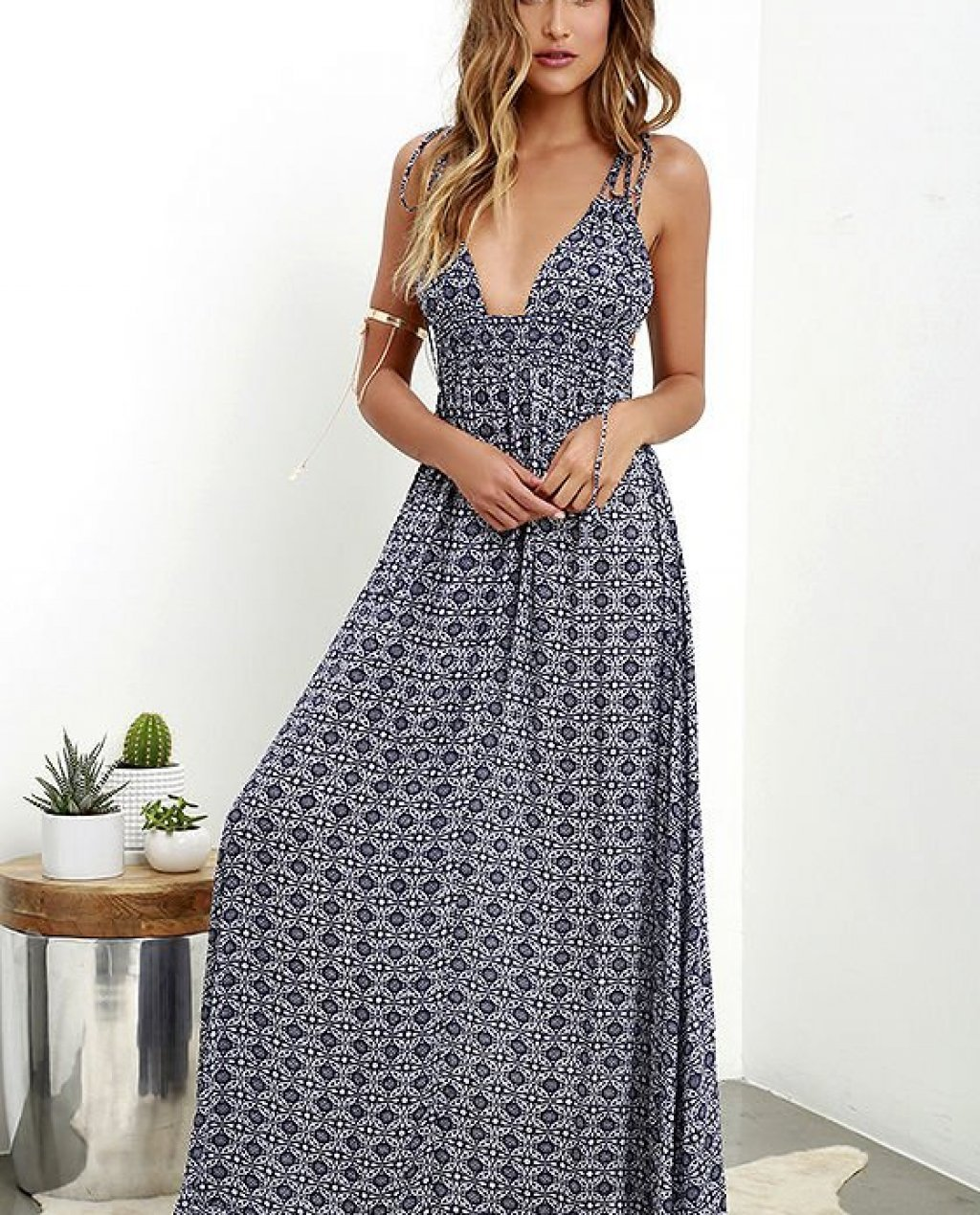 Field Day Navy Blue Print Maxi Dress