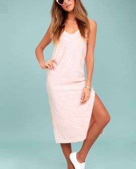 Finders Keepers Knox Blush Pink Print Midi Dress