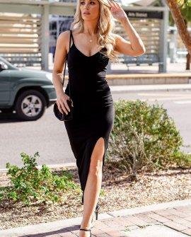 Finesse Black Slit Maxi Dress