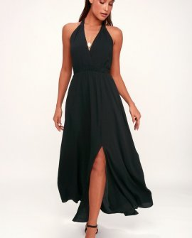 Finest Hour Black Halter Maxi Dress