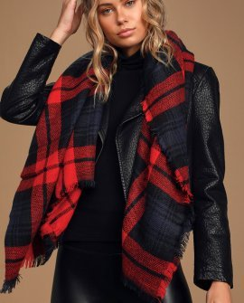 Fireside Memories Red Plaid Scarf