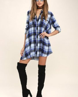 Fireside by Side Black and Blue Plaid Long Sleeve Dress