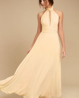 First Comes Love Light Beige Maxi Dress