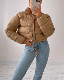 Fizz Cropped Padded Puffer Jacket in Beige