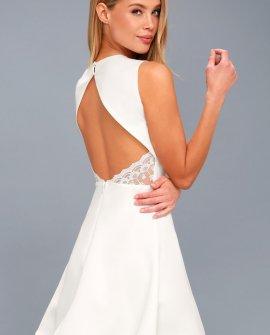 Flirt and Flair White Backless Skater Dress
