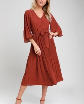 Flirty and Thriving Rust Red Pleated Midi Dress