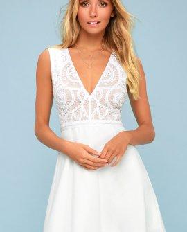 Florentia White Crochet Lace Skater Dress