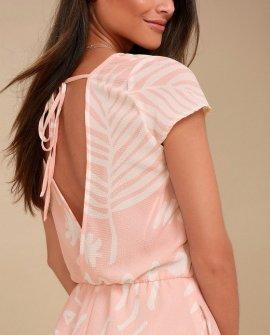 Flourishing Blush Pink Leaf Print Romper