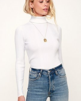 Forever Fave White Ribbed Turtleneck Top