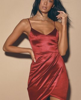 Forever Your Girl Wine Red Satin Bodycon Dress