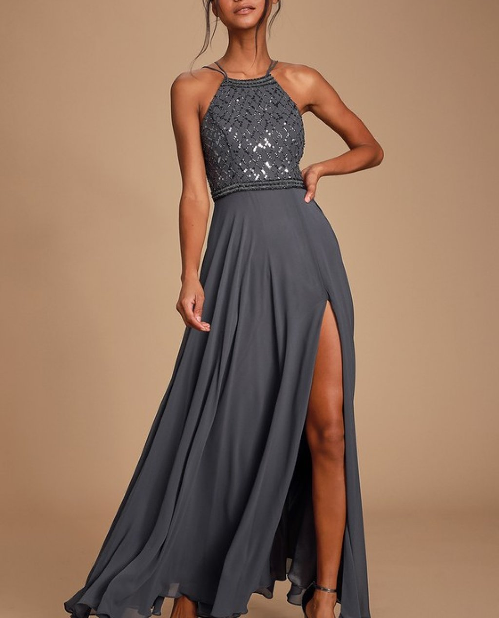 Forever in Love Charcoal Grey Sequin Sleeveless Maxi Dress