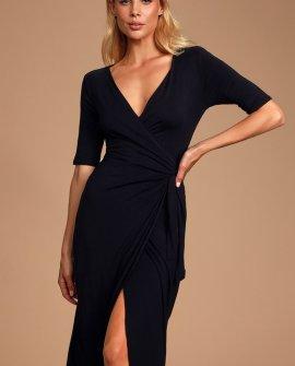 Forget Me Knot Black Midi Wrap Dress