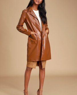 Four Leaf Clover Brown Vegan Leather Trench Coat