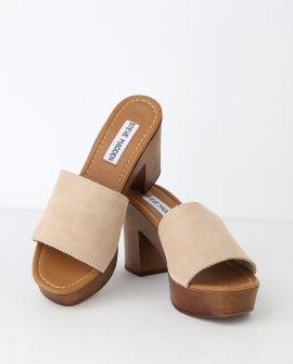 Fran Sand Suede Leather Platform Sandal Heels