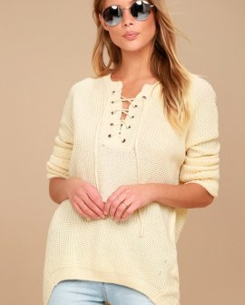 Francesca Cream Knit Lace-Up Sweater