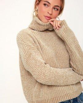 Francia Beige Chenille Turtleneck Sweater