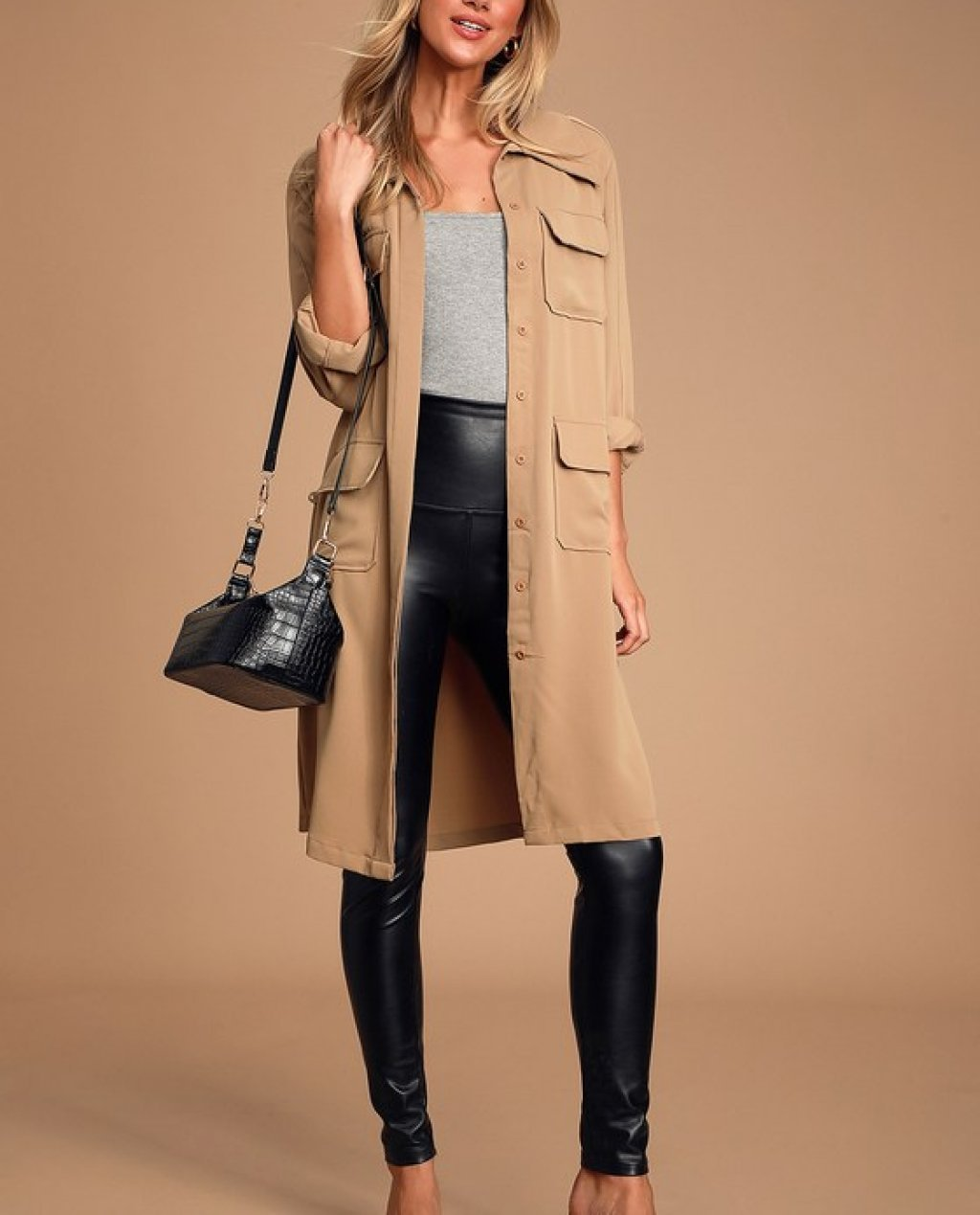 Franki Taupe Button Down Trench Coat