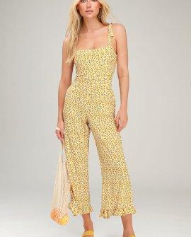 Frankie Yellow Floral Print Tie-Strap Jumpsuit