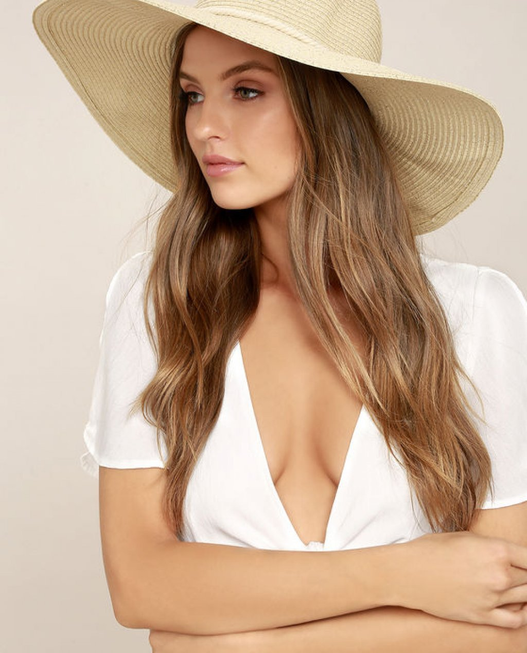Free as a Bird Silver and Beige Floppy Straw Hat