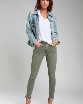 Freebirds Olive Green High-Waist Distressed Skinny Jeans