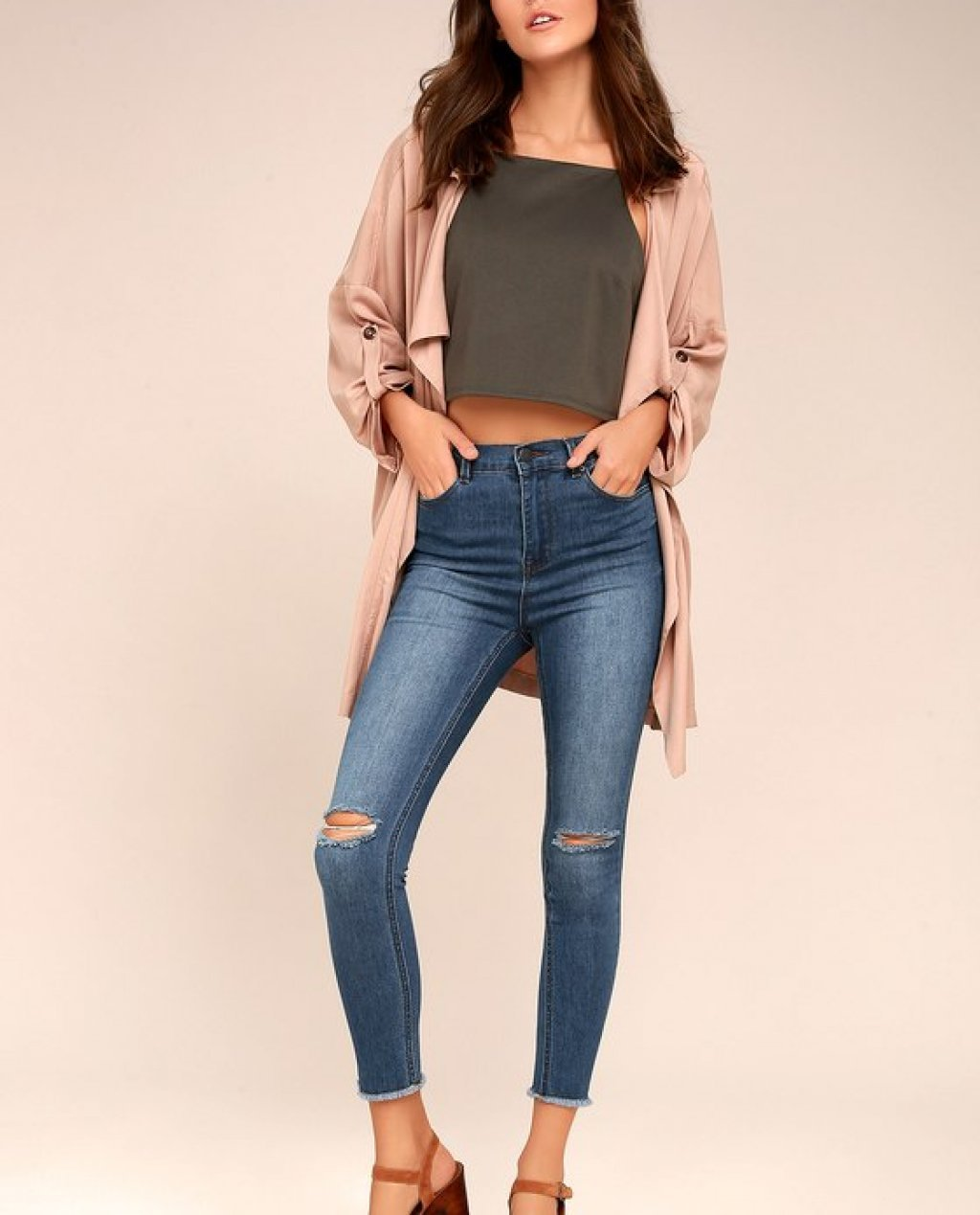 Friends Forever Medium Wash High-Waisted Distressed Skinny Jeans