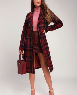 Front and Center Fuchsia Plaid Coat