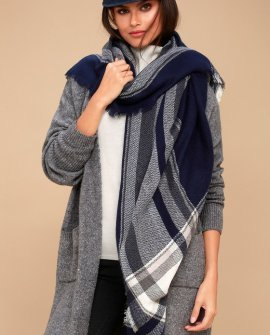 Frosty Friend Navy Blue Plaid Scarf