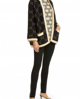 GG Metallic Jacquard Wool Blend Cardigan