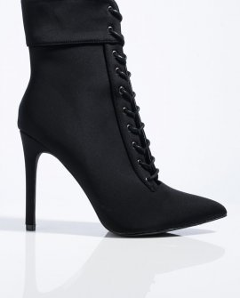 Gahdamn Lace Up Pointed Toe Booties
