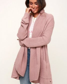 Galley Mauve Open-Front Knit Cardigan