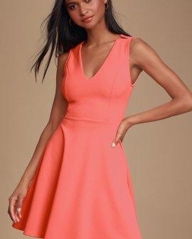 Garcia Coral Pink Sleeveless Skater Dress