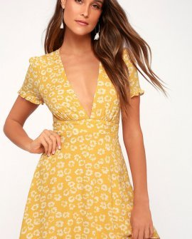 Garden Explorer Mustard Yellow Floral Print Mini Dress