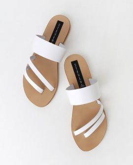 Geena White Leather Flat Sandal Heels