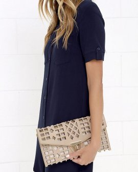 Geo du Jour Cutout Blush Clutch