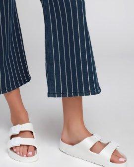 Georgie White Buckled Slide Sandals