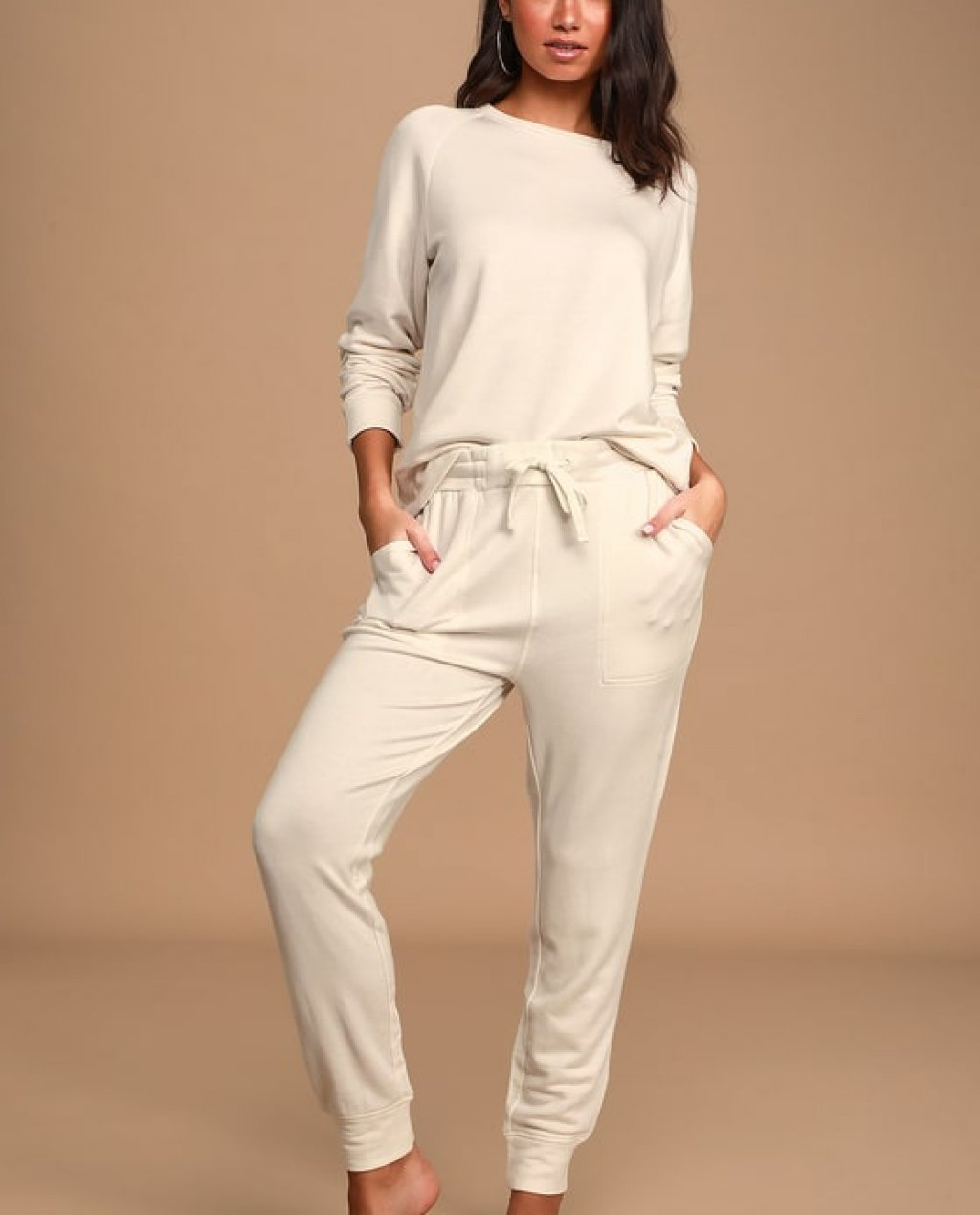 Get Lounge-y Cream Drawstring Joggers