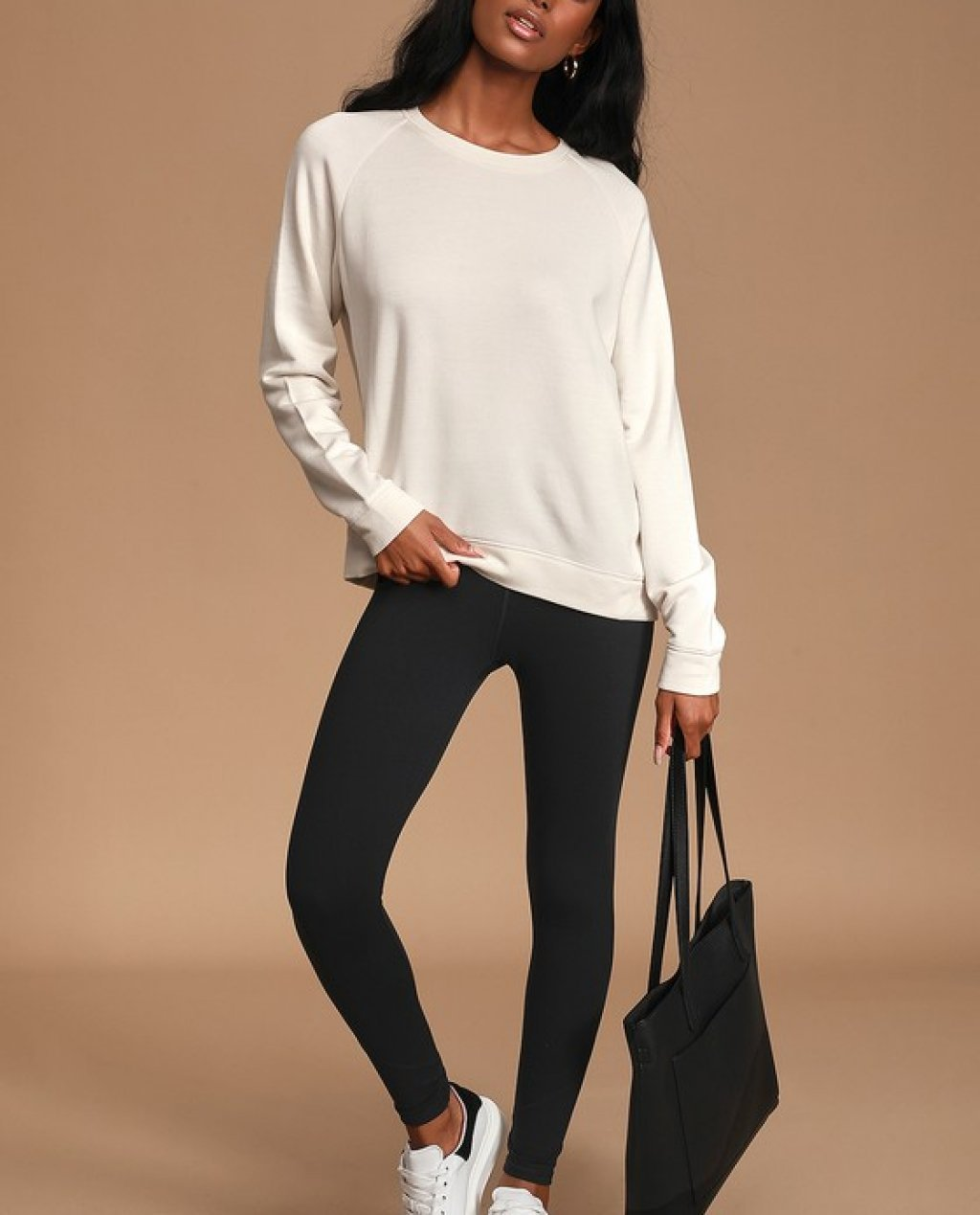 Get Lounge-y Cream Oversized Pullover Sweatshirt