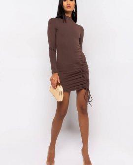 Get On My Level Long Sleeve Drawstring Mini Dress